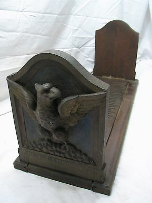 Antique Hand Carved Wooden Eagle Expanding Book Rack Bookends Wood Holder