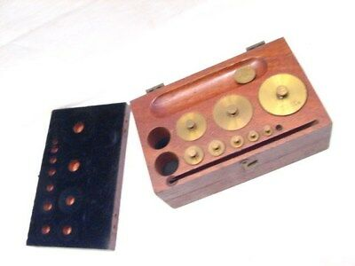 Antique Set Apothecary Balance Weights Gold Scale w/Box