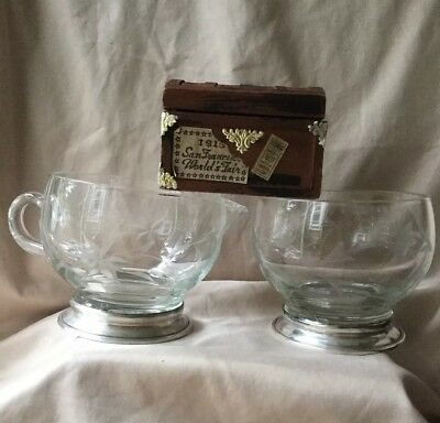 Vintage Creamer & Sugar Bowl Set etched glass flowers W/ Sterling silver bases