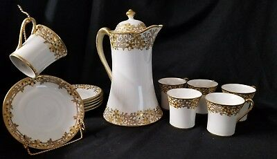 Antique hand painted Nippon moriage china tea set gold gilding teapot 12 pc lot