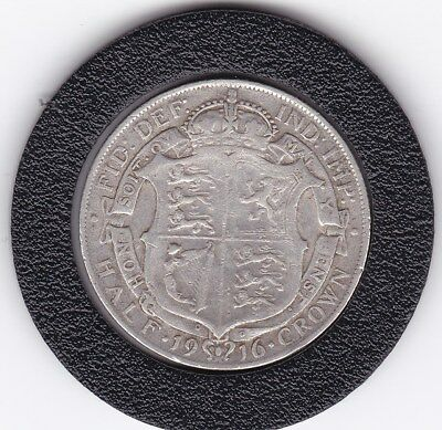 1916   King  George V  Half  Crown  (2/6d) -  Silver  92.5%  Coin