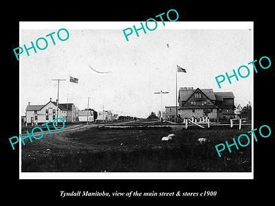 OLD LARGE HISTORIC PHOTO OF TYNDALL MANITOBA, THE MAIN STREET & STORES c1900