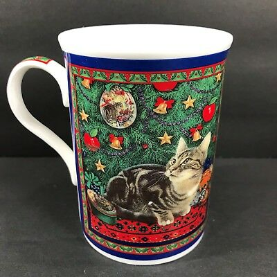 1998 Ivory Cats Lesley Anne Christmas Coffee Mug Cup Fine Bone China 10 oz