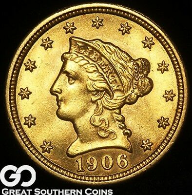 1905 Quarter Eagle, $2.50 Gold Liberty, Sharp & Lustrous Solid Gem BU++!