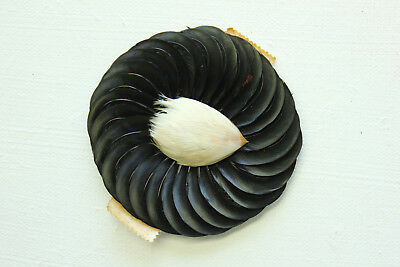 NOS vintage 1920 millinery feather hat cabachone trim Germany 3365 black white