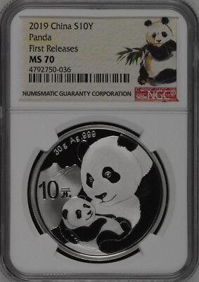 NGC MS70 2019 China 30g Silver Panda Coin First Releases #03