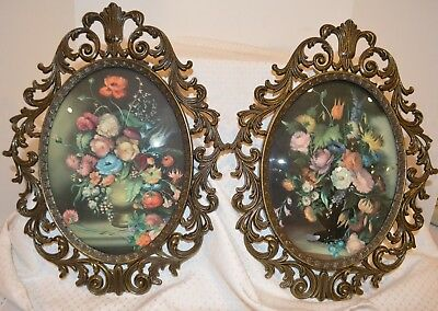2 Vintage Oval Floral Curved Glass Wall Hanging, Italy, Metal Frames,EXCELLENT!