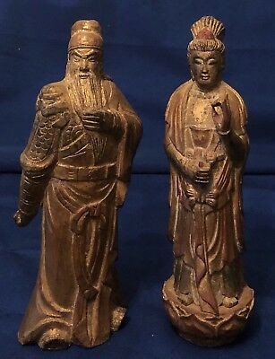 Antique Pair Wooden Emperor And Empress Statues Mid Century