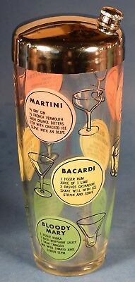 MARTINI MIXED DRINK COCKTAIL SHAKER Vintage Barware COLORFUL RECIPES 28
