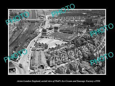 OLD LARGE HISTORIC PHOTO OF ACTON LONDON ENGLAND, ICE CREAM & SAUSAGE Co c1950