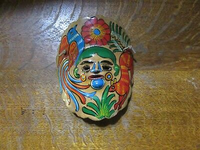 Vintage Mexican Terracotta Folk Art Mask-Hand Painted-Wall Hanging