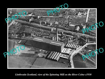 OLD LARGE HISTORIC PHOTO OF LINTHWAITE SCOTLAND, VIEW OF THE SPINNING MILL c1930