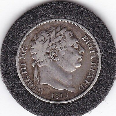 Sharp  1818  King  George  III   Sixpence  (6d)  Silver  (92.5%)   Coin