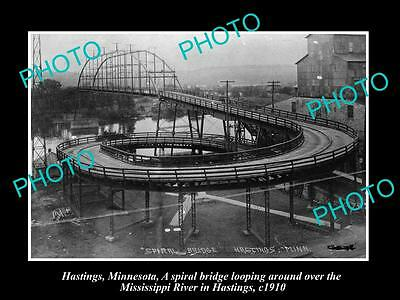 OLD LARGE HISTORIC PHOTO OF HASTINGS MINNESOTA, VIEW OF THE SPIRAL BRIDGE c1910