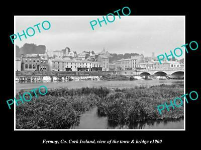 OLD LARGE HISTORIC PHOTO OF FERMOY CORK IRELAND, THE TOWN & BRIDGE c1900