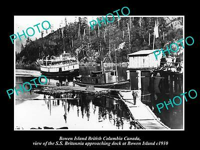 OLD LARGE HISTORIC PHOTO OF BOWEN ISLAND CANADA, SS BRITANNIA AT THE DOCK c1910