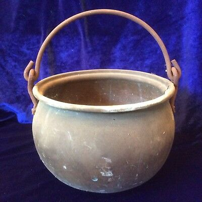 Vintage Hammered COPPER POT PLANTER Cauldron With Hanging Handle