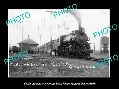 OLD LARGE HISTORIC PHOTO OF CLYDE KANSAS, THE ROCK ISLAND RAILROAD DEPOT c1910
