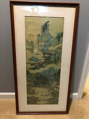 Vintage Japanese Scroll Mountain Painting Framed - Signed
