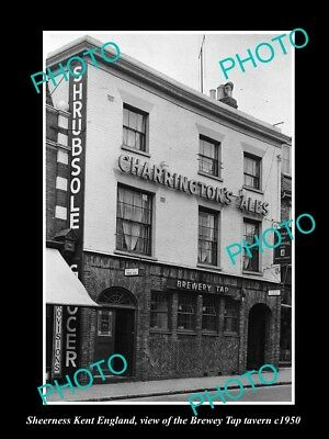 OLD LARGE HISTORIC PHOTO SHEERNESS KENT ENGLAND, THE BREWERY TAP TAVERN c1950