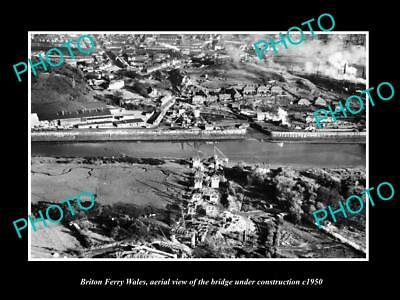 OLD LARGE HISTORIC PHOTO OF BRITON FERRY WALES, THE BRIDGE CONSTRUCTION c1950 1