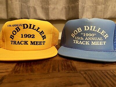 Lot of 2 Vintage Trucker Hats 90's Track and Field