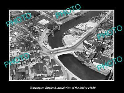 OLD LARGE HISTORIC PHOTO WARRINGTON ENGLAND, AERIAL VIEW OF THE BRIDGE c1930