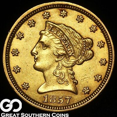 1857 Quarter Eagle, $2.50 Gold Liberty, Tougher BU++ Date ** Free Shipping!