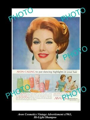 Large Historic Advertising Of Avon Cosmetics 1963, Hi-Light Shampoo