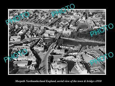 OLD LARGE HISTORIC PHOTO OF MORPETH ENGLAND, VIEW OF THE TOWN & BRIDGE c1930