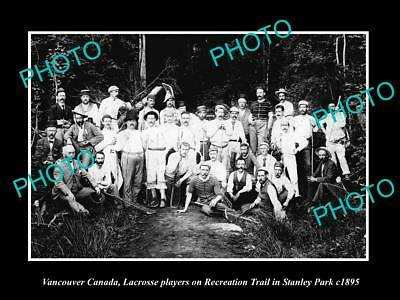 Old Large Historic Photo Of Vancouver Canada, Lacrosse Club At Stanley Park 1895