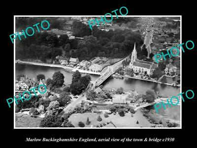 OLD LARGE HISTORIC PHOTO OF MARLOW ENGLAND, VIEW OF THE TOWN & BRIDGE c1930