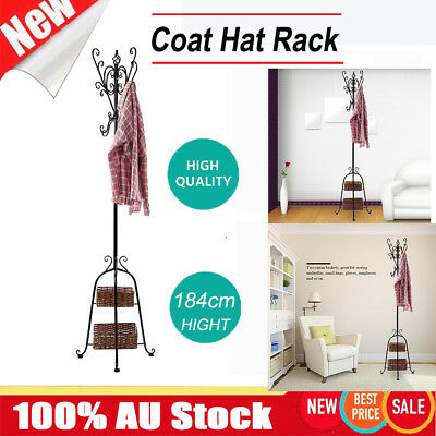Coat Stand Metal Rack Clothes Hanger Hat Tree Vintage Jacket Bag Umbrella Hook