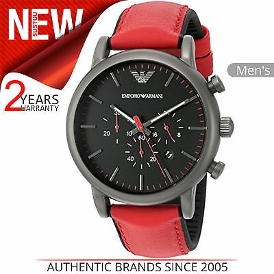 e9299c96 EMPORIO ARMANI LUIGI Men's Watch AR1971│Chronograph Black Dial│Red Leather  Strap
