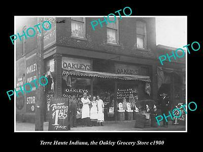 OLD LARGE HISTORIC PHOTO OF TERRE HAUTE INDIANA, THE OAKLEYS GROCERY STORE c1900
