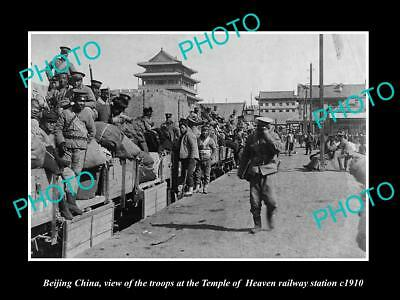 OLD LARGE HISTORIC PHOTO BEIJING CHINA, SODLIERS TEMPLE OF HEAVEN RAILWAY c1910