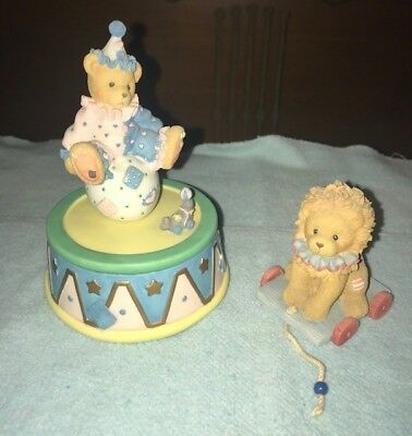 Lot of 2 Cherished Teddies - clown bear music box, circus lion (pre-owned)