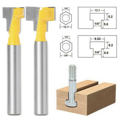 1/4'' Shank Cutter Router Bit T-Slot Set Carbide Durable Useful Kit Woodworking