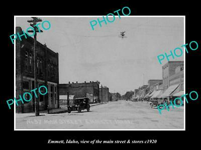 OLD LARGE HISTORIC PHOTO EMMETT IDAHO, THE MAIN STREET & STORES c1920