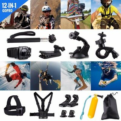 Set Kit Pole Head Chest Mount Strap GoPro Hero 2 3+ 4 Camera Accessories  12 IN1