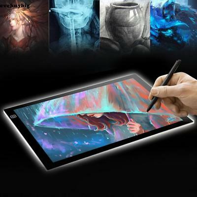 A4 LED Light Graphic Tablet  Drawing Board Panel Luminous Stencil Tracing Pad US