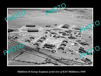 OLD LARGE HISTORIC PHOTO MIDDLETON ST GEORGE ENGLAND, THE RAF AIRFIELD c1950