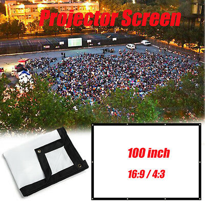 100'' 16: 9 Portable Foldable Projector Screen Projection Home Theater Movie