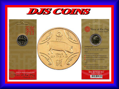 """2007 $1 Uncirculated Coin: Lunar Series - """"Year of the Pig."""""""