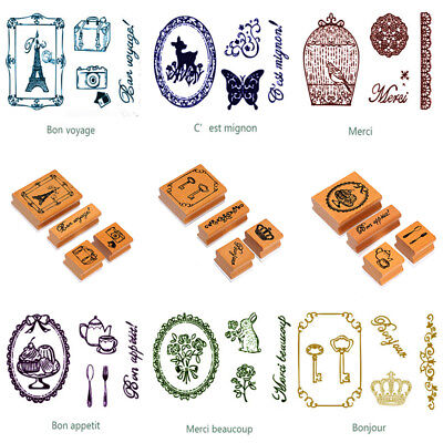 French Greetings Rubber Stamps Words & Patterns Set Christmas Weddings Gift Tags