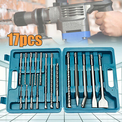 17Pcs Drill Bits & Chisel SDS Plus Rotary Hammer Bit With Set Storage Carry Case