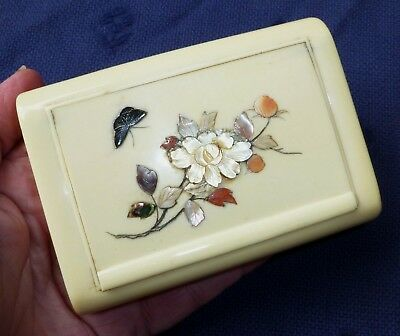 Antique Large Japanese Shibayama Celluloid Table Snuff Box