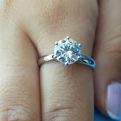 2.35 ct round cut white gold diamond engagement ring D COLOR SI1 not enhanced
