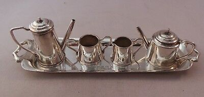 Nice Sterling Silver Miniature 5 Piece Tea Set Birmingham 1970