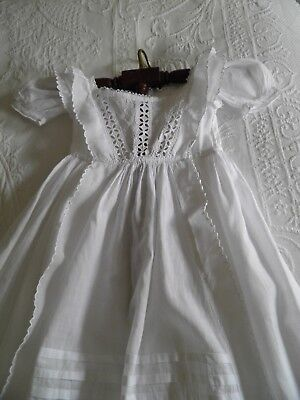 Beautiful Victorian Christening gown hand sewn with embroidery & cut work/c1850